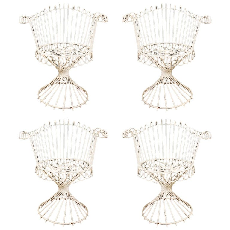 Set of Four French Iron Chairs by Mathieu Mategot