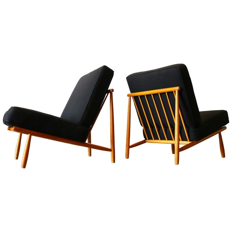 """Pair of Swedish """"Domus 1"""" Lounge Chairs by Alf Svensson for DUX Minimalist Black"""