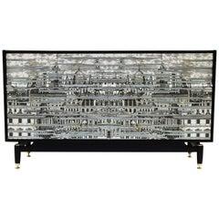 Midcentury Sideboard, Fornasetti Style Dresser Credenza G Plan Black