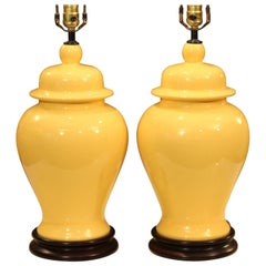 Vintage Pair of Haeger Pottery Atomic Chrome Yellow Large Ginger Jar Urn Lamps