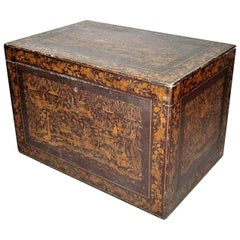 Mid-19th Century Indian Chinoiserie Lacquered Trunk
