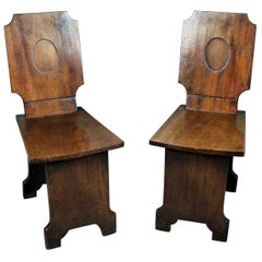 Regency Pair of Mahogany Hall Chairs Very Unusual Restrained Design