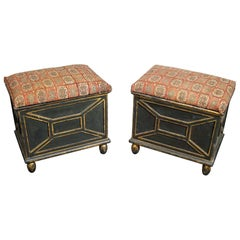 19th Century Pair of Decorated Box Stools