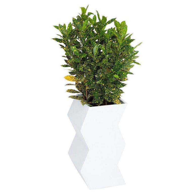 Zig Zag Planter by Pieces, Modern White Fiberglass Planter