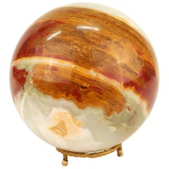 Agate Specimen Sphere on Gilt Metal Base