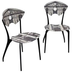 Pair of Fornasetti Style Black Lacquered Chairs