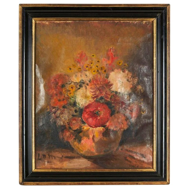 20th Century French School Flowers Oil on Canvas, Signed