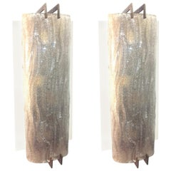 Barovier Pair of Sconces Thick Glass and Brass