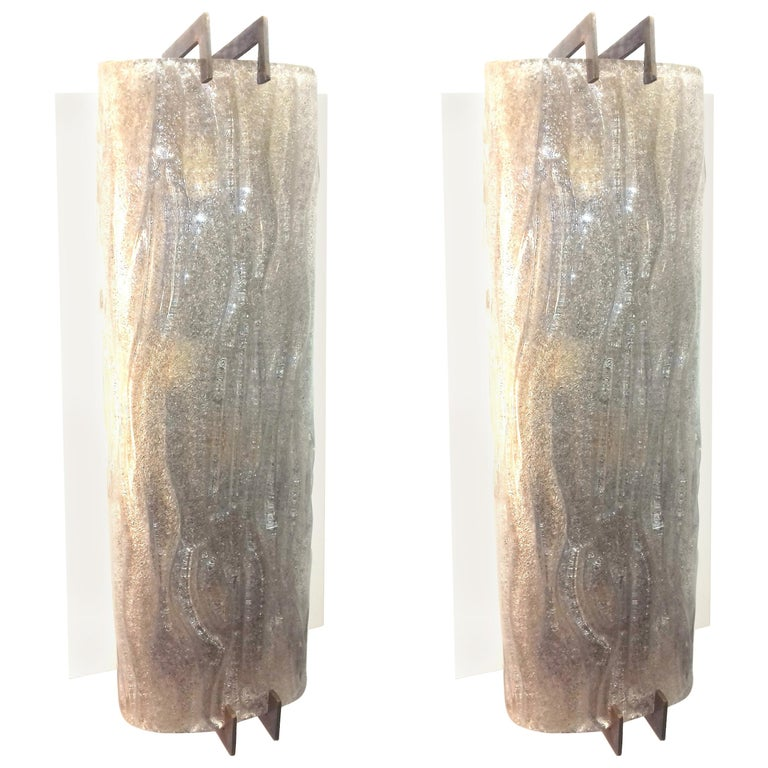 Barovier Pair of Sconces Thick Glass and Brass For Sale