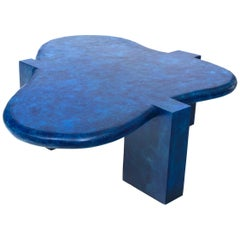 1970s Tessellated Style Biomorphic Blue Wood Coffee Table