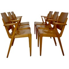 Beechwood Dining Room Chairs Austro by Franz Schuster Vienna 1959 Set of Six