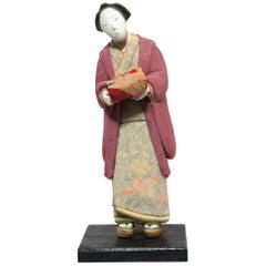 Japanese Kimekomi Woman Doll Wearing Silk Kimono, Style of Taisho Romence, 1920s