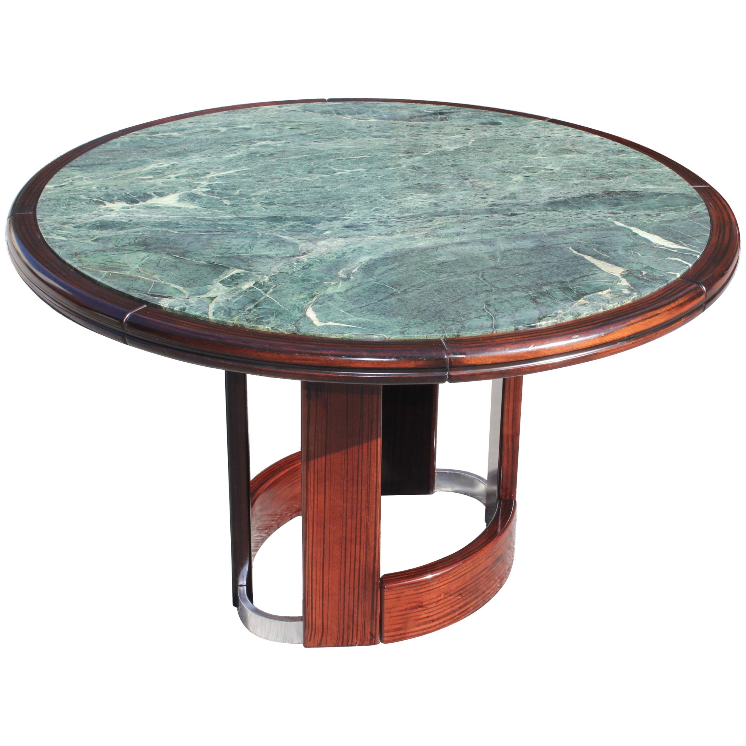 A White Carrara Marble Round Table at 1stdibs