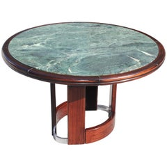 Unique French Art Deco Macassar Ebony Round Centre Table with Green Marble Top