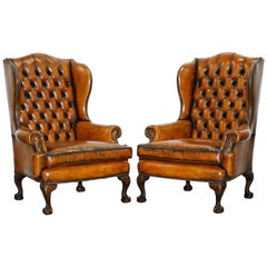 Chippendale Chesterfield Claw & Ball Georgian Wing Armchairs Brown Leather Pair