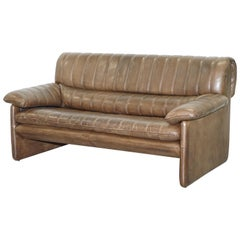 Vintage De Sede DS-85 Aged Brown Leather Two-Seat Sofa Mid-Century Modern 86