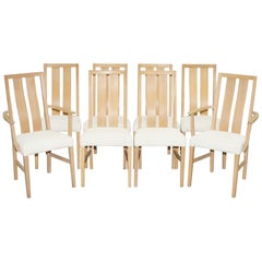 Rare Set of Eight Orum Mobler Ashwood Dining Chairs Table