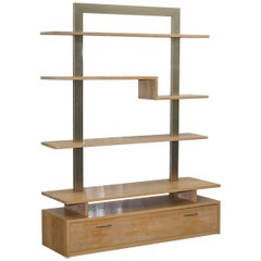 Orum Mobler Chrome and Ash Bookcase Height Adjustable Shelves and Drawer