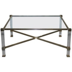 Rare Mid-Century Modern Pierre Vandel Paris Brass Lucite and Glass Coffee Table