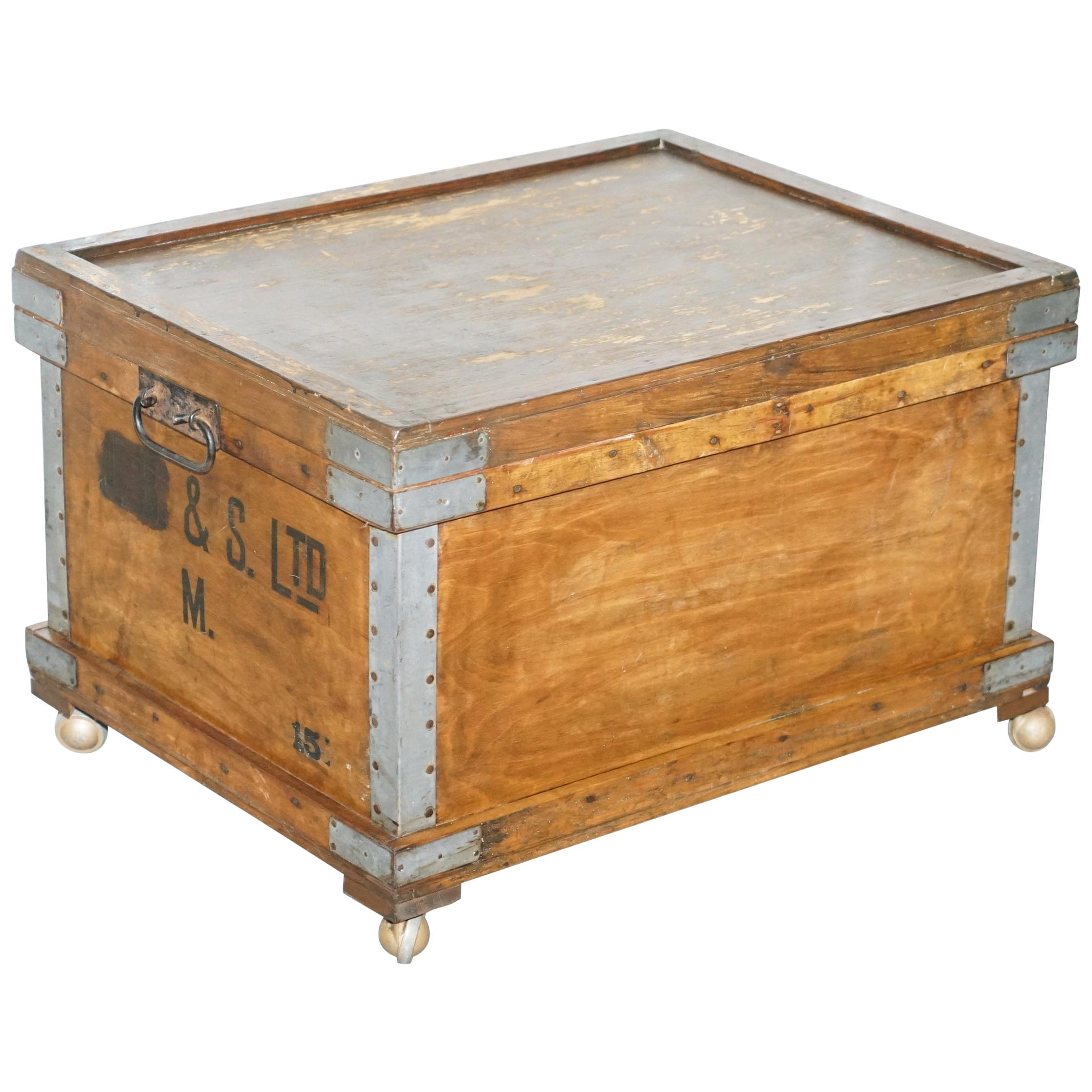 Chest Trunk Ottoman Coffee Side Table On Wheels Internal Storage Industrial  For Sale