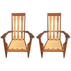 Pair of Oak Armchairs, circa 1950