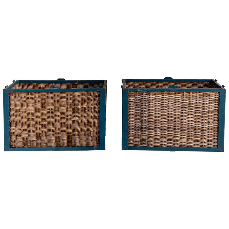 Pair of Large Vintage French Industrial Wicker Baskets