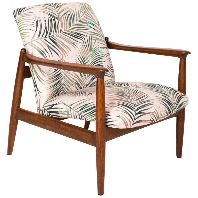 Vintage Palm Tree Leaves Beige Velvet Armchair, Edmund Homa, 1960s