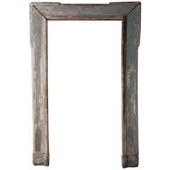 Large 19th Century French Wood Floor Mirror Frame in Original Paint