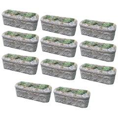 Set of 11 Cast Reconstituted Stone Garden Planters Troughs 1900s Garden Feature