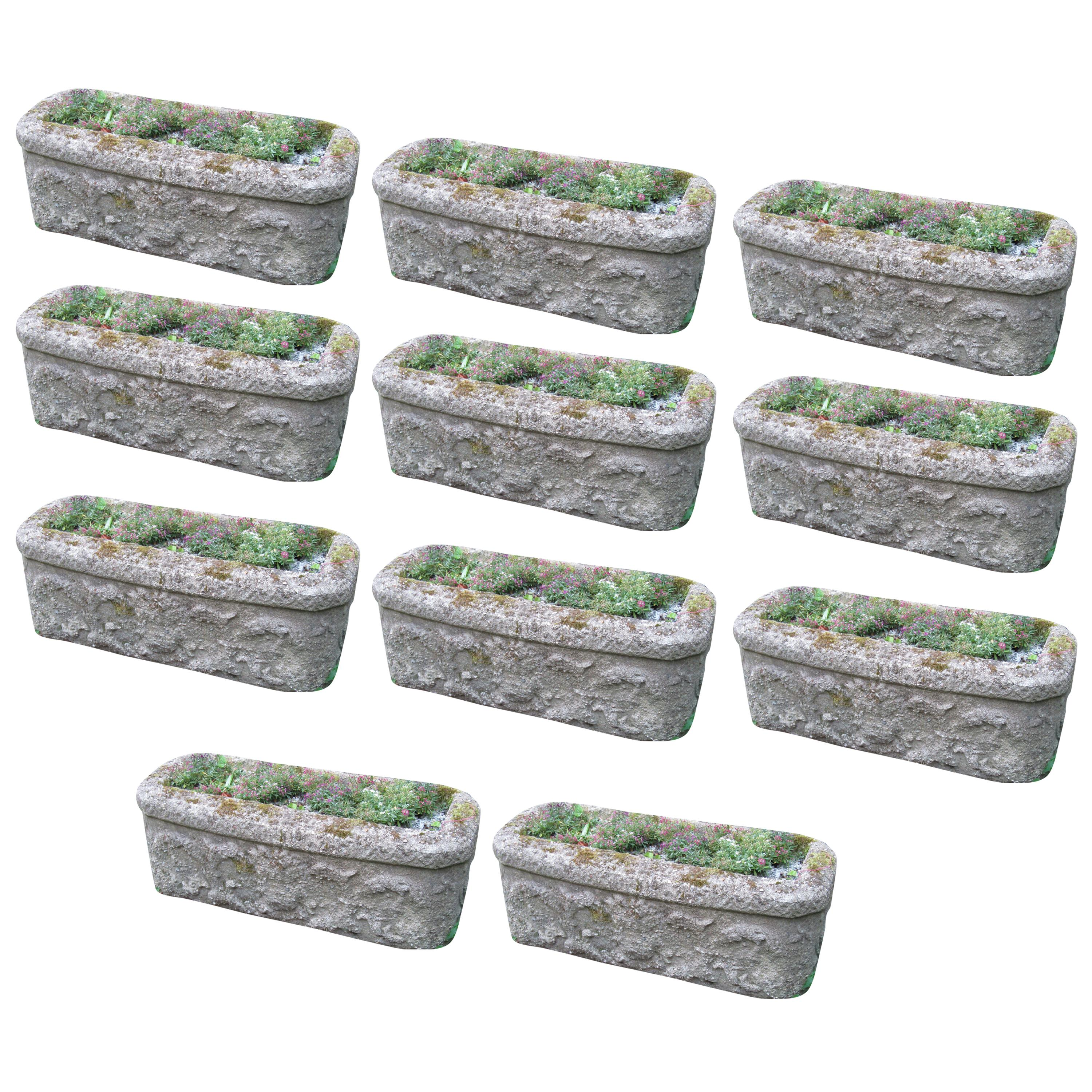 Set Of 11 Cast Reconstituted Stone Garden Planters Troughs 1900s Garden  Feature For Sale