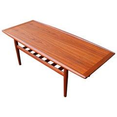 Shorter Teak Coffee Table with Flared Edges & Slat Shelf Grete Jalk for Glostrup