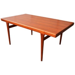 Danish Teak Two-Leaf Dining Table by Kofod Larsen with His Iconic Leg Detail