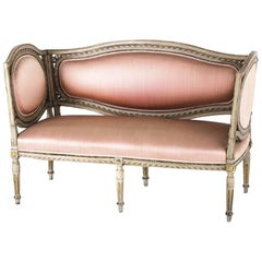 Setee Louis Seize Carved Pink Bench