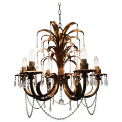Beautiful Hollywood Regency Style Palm Tree Chandelier, circa 1960s