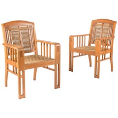 Pair of Art Nouveau Ash and Seagrass Armchairs