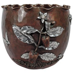 Gorham Japonesque Copper and Silver Mixed Metal Bird and Butterfly Bowl