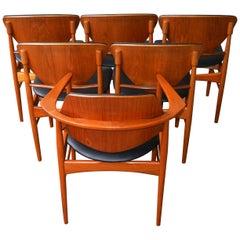 Rare Set Six Danish Modern Teak Dining Chairs, Arne Hovmand Olsen Black Leather
