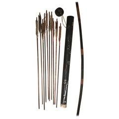 """Japanese Antique 86"""" Samurai Bow, Quiver, & Ten Arrows, Meiji 19thc, Rare Find"""