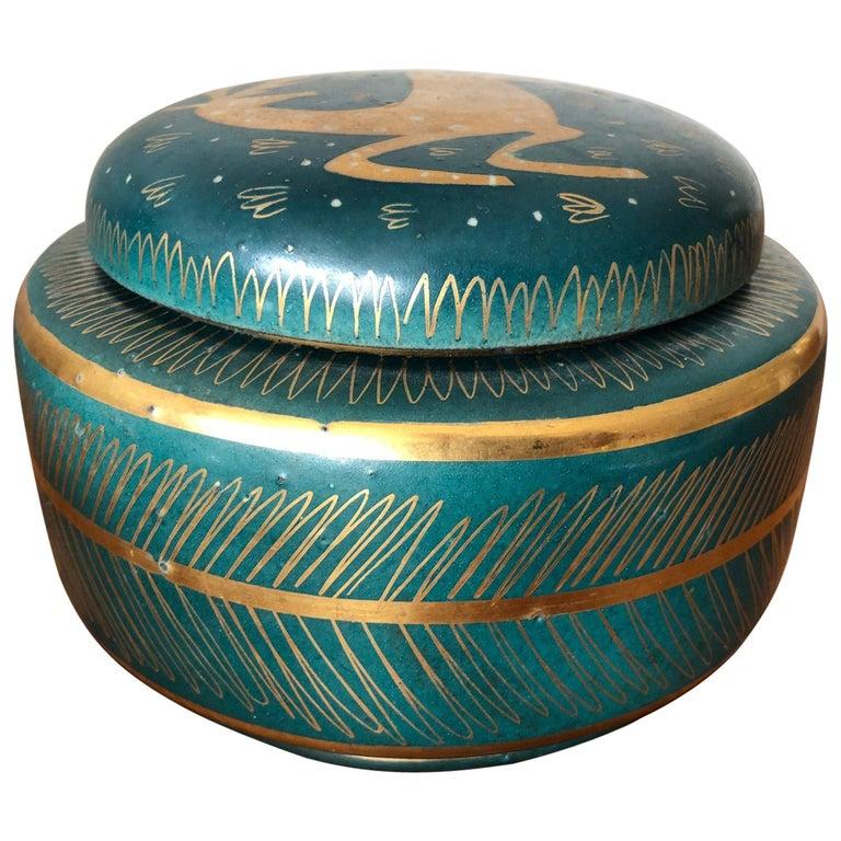Waylande Gregory Ceramic Jar with Sgraffito Decoration For Sale