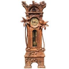 Antique Swiss Black Forest Walnut Ancient Ruïn, Palm Trees Grandfather Clock