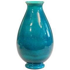 Robertson Hollywood CA Pottery Art Deco Turquoise Crackle Glaze Vintage Vase