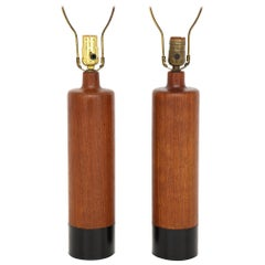 Pair of Teak and Leather Lamps by ESA