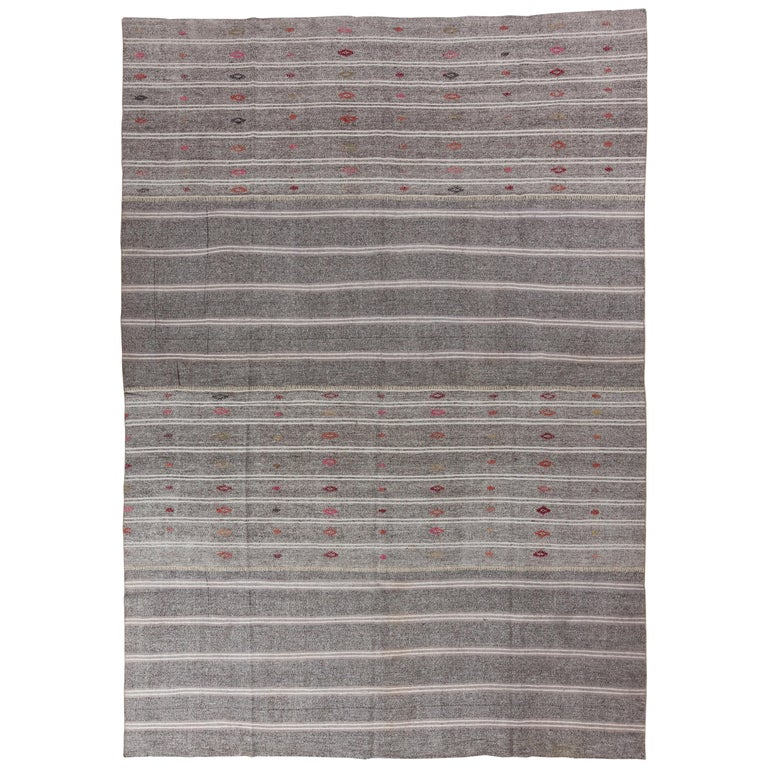 Striped Vintage Kilim made of Goat's Hair and Hemp