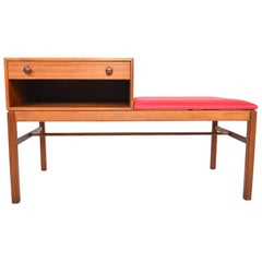 Swedish Modern Teak Casino Model Telephone Bench