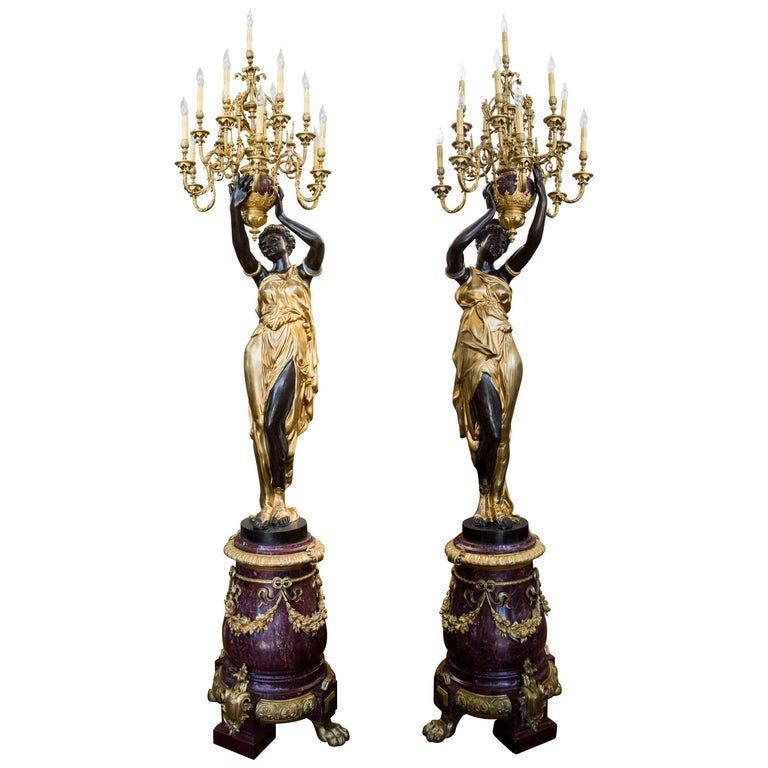 Pair of Monumental French Gilt and Patinated Bronze and Rouge Marble Torcheres