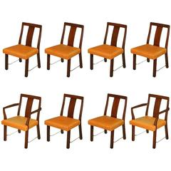 Eight Edward Wormley Mahogany, Leather and Brass Dining Chairs
