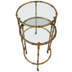 Round Gold Gilt Nesting Tables or Side Tables