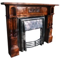 American Walnut 1880s Fireplace Mantel with Victorian Aesthetic Movement Insert