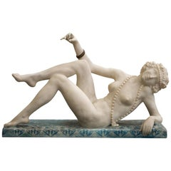 Art Deco Carved Alabaster Figure of a Posing Nude Lady, circa 1920