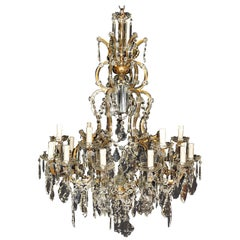 Nineteen-Light Maria Theresa Chandelier Antique Ceiling Lamp Lustre Art Nouveau